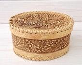 Wicker Box - Rowan Birch Bark Box - Rustic style - Wooden Jewelry Box -Wedding Gift - Oval Storage Box -Rustic Kitchen Storage -Rustic Decor