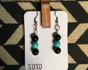 Black and Turquoise Bead Drop Earrings