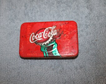 Coca Cola Bicycle Playing Cards Tin, Distributed by USA, Made in USA, Also Distributed in Canada, French Wording, Coca Cola Bottle Top
