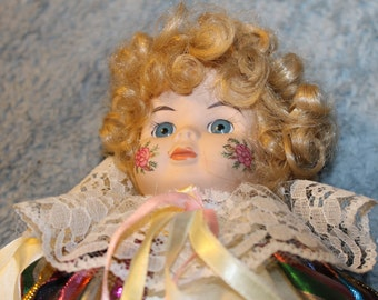 Vintage Clown Doll, Great Clothing, Lace Everywhere, Head and Hands Porcelain, Hand Painted, Colorful, Beautiful Expression on the Face