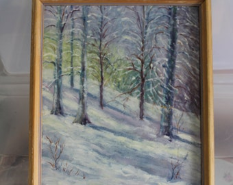 Half Price Sale Chris Newman is The Artist of This Gorgeous Painting, it is Original & Signed by Artist, Forest Trees w Snow Mountain Slope