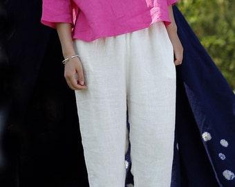 White linen pants trousers BonLife