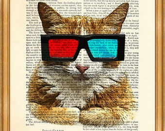 Cat with oldschool 3d glasses DICTIONARY ART PRINT Print on Vintage Dictionary Page 8'' x 10'' from Antique Book