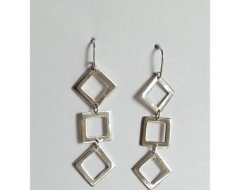 1/2price Sterling Silver Geometric Dangle Earrings
