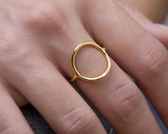 Silver Circle Ring, Gold Circle Ring, 925 Sterling Silver, Circle Ring, Circle 13mm(medium)
