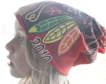 Chicago, Blackhawks, winter hat, slouch hat, beanie hat, fall hat, handmade, gift, sports team, stretch, hockey, team hat, baseball hat