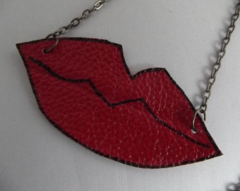 Red Leather Lips Necklace
