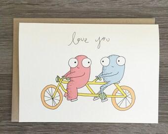 Love You - Cute Love Card - Tandem Bike - Valentine's Day Card - Couple Card