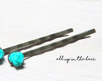 Tiny Teal Rose Bobby Pins -Teal Flower Bobby Pins - Teal Rose Hair Pins - Teal Bobby Pins - Teal Hair Pins