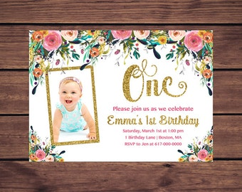 Floral 1st Birthday Invitation Girl, Any Age Floral Navy Gold Girl First Photo Birthday Invitation, Floral Gold Printable JPEG P