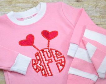 Valentine's Day Pajamas, Valentine's Pajamas, Valentine PJ, Girls Valentine Pajama, Monogram Pajamas, Heart, Applique, Embroidery