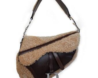 Christian Dior Brown Flight Shearling Leather Saddle Bag