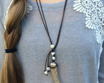 Leather Freshwater Pearl Deer Antler Necklace