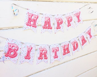 Happy Birthday Banner - Birthday Bunting - Carnival Birthday Party - Circus Birthday - First Birthday Banner -Vintage Carnival -Circus Party