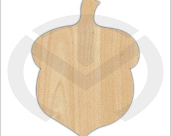 Unfinished Wood Acorn Laser Cutout, Wreath Accent, Door Hanger, Ready to Paint & Personalize, Various Sizes