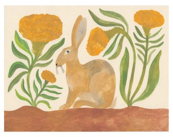 Celosia & Hare Print