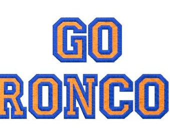 Embroidery Design Pattern Denver Broncos, Go Broncos! for 12th Man Superbowl Football Fan