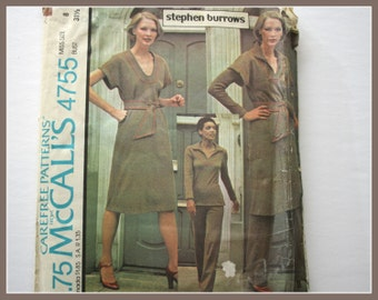 "1970s pantsuit and dress sewing pattern, Vintage UNCUT McCalls 4755, Stephen Burrows Desgin, size 8, butst 31 1/2"" for stretch knit fabrics"