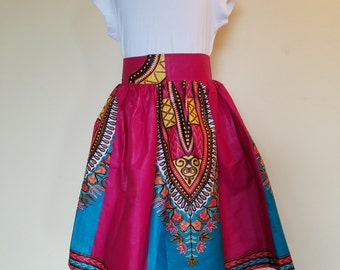 Pink/Blue with lovely others colors Ankara/ African print Skirt