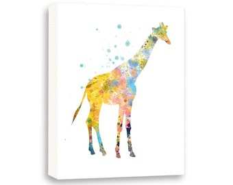Giraffe Nursery Painting, Watercolor Painting, Kids Art, Limited Edition Gallery Wrapped Canvas - AS14002C