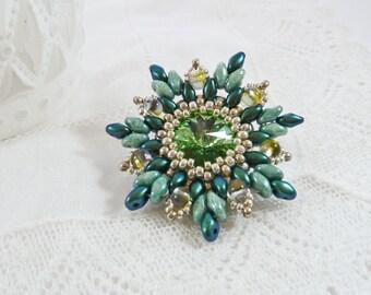 Green Flower Brooch, Peridot, Grandma Gift, For Mum, Shawl Pin, Rhinestone, Swarovski Crystal, Vintage Look, Costume Jewelry, Bead Broach