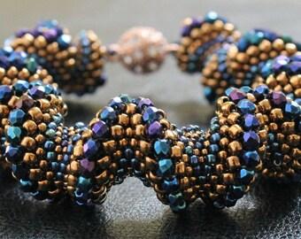 Beaded bracelet, Bead weaving, Beadwork bracelet, Spiral bracelet, Peyote bracelet, Peyote stitch, Beaded jewelry, Seed bead bracelet