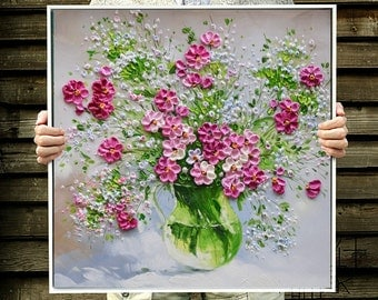 """Framed 28x28"""" Hand-painted green white pink blooming flower vase hanging wall art picture thick palette knife oil painting on canvas By Lisa"""