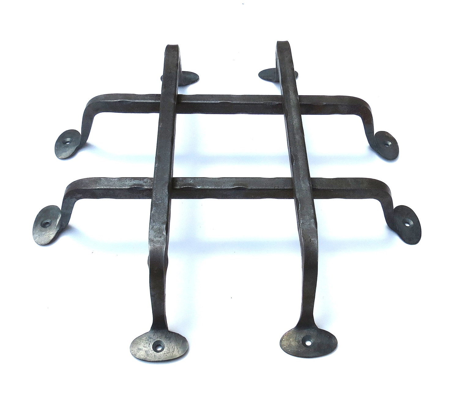Forged Gate Latch Bar : Hand forged door grill wrought iron rustic metal gate