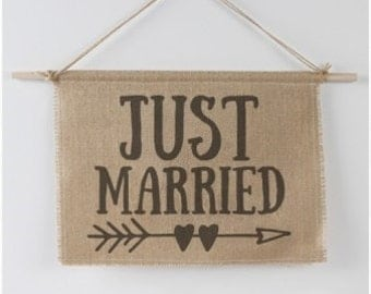 Rustic Burlap Country Wedding Just Married Sign