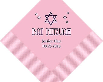 Personalized Bat Mitzvah Napkins (Pack of 100)