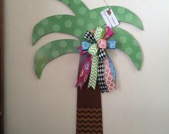 Wooden palm tree door hanger