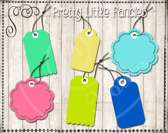 6 Digital Bright Tags Digital Scalloped Tag with Strings Clipart Tags
