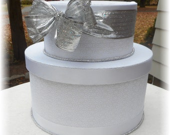 GLITZY Silver Christmas New Years Wedding Card Box  Winter CUST/Winter WonOMIZE Your Colors Design