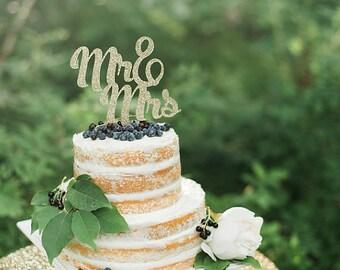 """Glitter """"Mr&Mrs"""" Cake Topper - Wedding Cake Topper - Bridal Shower Cake Topper"""