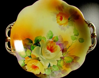 c1911 Nippon Morimura Brothers Hand Painted White Rose Serving Platter Gold Rim