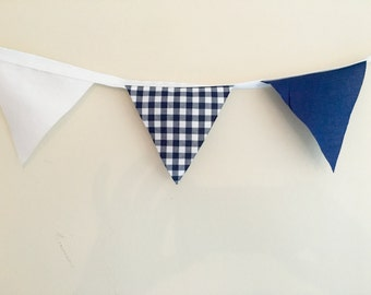 Navy White fabric Bunting Wedding Decor Baby Boy Nursery Decor Check Rustic Country  Shower Gift