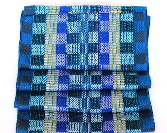 Blue Plaid Scarf - Handwoven Scarf - Cotton Infinity Scarf - Royal Blue Scarf - Blue and Yellow Scarf - Gift Ideas for Women 6060