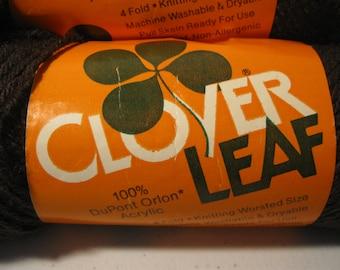 Vintage Clover Leaf Wood Brown Yarn 3.5 Ounce Skein 100% Acrylic American Thread