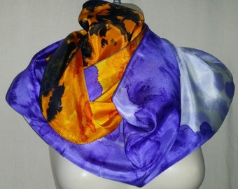 Purple/Yellows/ Charcoal Exclusive Pure Silk Hand Painted Scarf