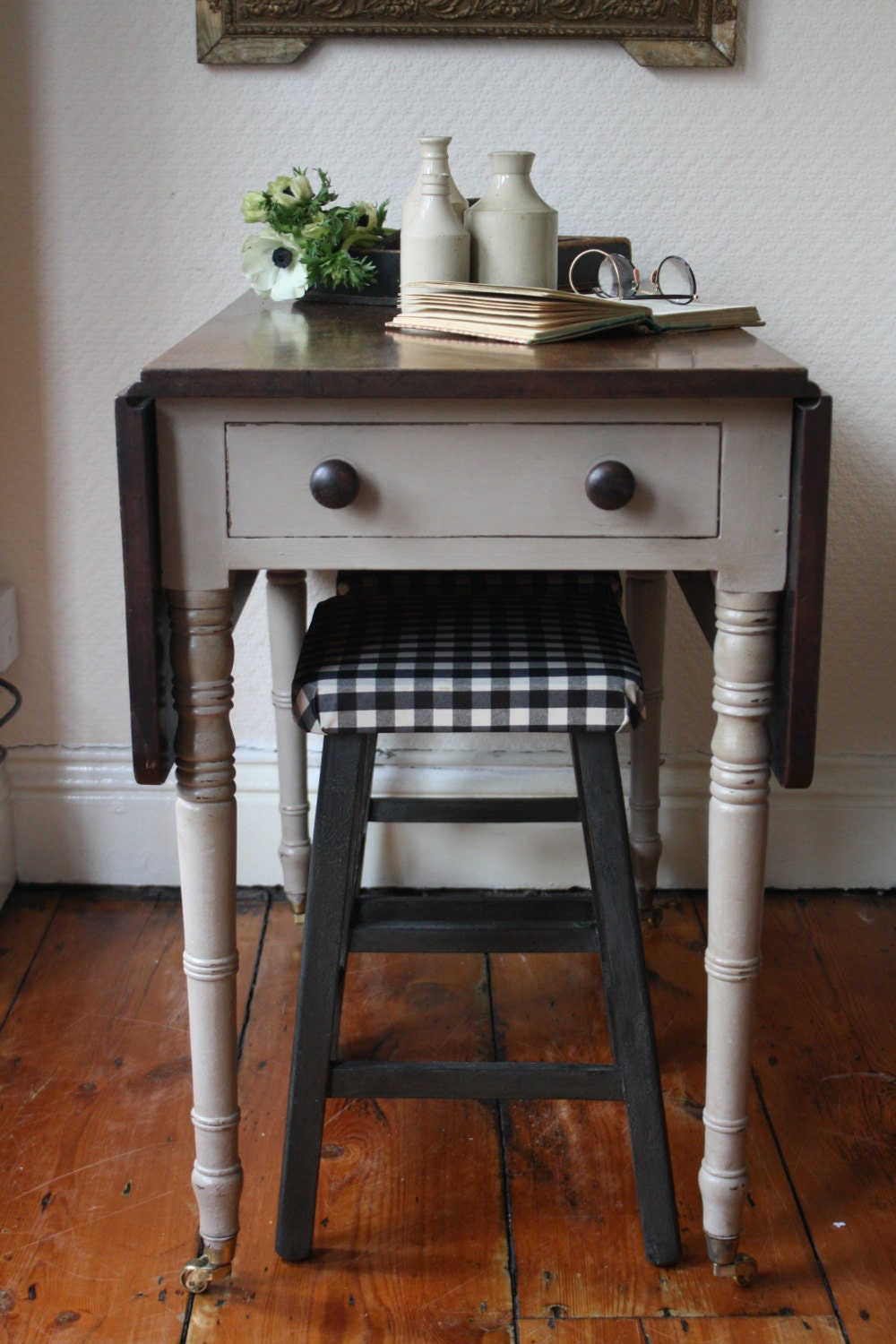 Restored Vintage Drop Leaf Table With Castors And Single