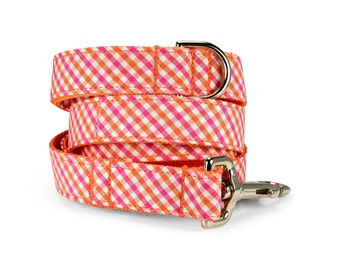 Orange And Pink Gingham Dog Leash, Orange Dog Leash, Preppy Leash, Pink Gingham Dog Leash, Gingham Dog Leash, Preppy Dog Leash,
