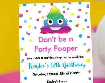 Emoji Party Pooper Invitation INSTANT DOWNLOAD  - Printable Emoji Birthday Invitation by Printable Studi