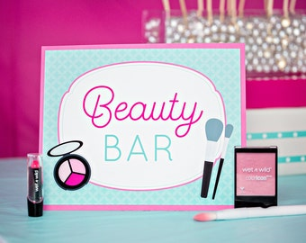 Spa Party Make Up Sign - Instant Download Beauty Bar Sign for Spa by Printable Studio