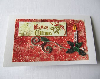 Merry Christmas Handmade Greeting Card - Paper Art Christmas wishes - OOAK Merry Xmas card - Pretty Happy Holidays Gift Card