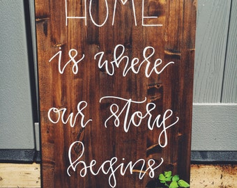 Home Is Where Our Story Begins - Home Sign - Farmhouse Decor - Farmhouse Style - Handlettered Sign - Home Decor - Wall Decor- Rustic Sign