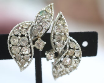 Vintage Pair of Rhinestone and Silver Tone Clip On Earrings Signed Lisner