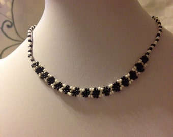 Beautiful Simple Bead Necklace. Black and White colors. Made in Kenya