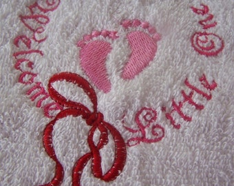 Personalised embroidered  Baby Girl Welcome Hooded bath towel (100% cotton)