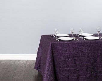90 x 132 inch Rectangular Eggplant Tablecloth Crease Taffeta | Wedding Tablecloth