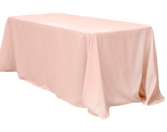 90 x 156 inch Rectangular Blush Tablecloth Polyester | Wedding Tablecloth
